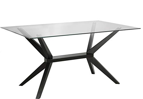 Dining Modern Table Rectangular (Uptown Club Vanora Collection Modern Tempered Glass Top Long Dining Table, 63