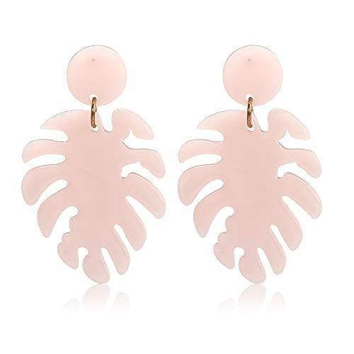Acrylic Earrings for Women Drop Dangle Leaf Earrings Resin Minimalist Bohemian Statement Jewelry (Acrylic earrings Light Pink) (Pink Clear Crystal Drop Earrings)