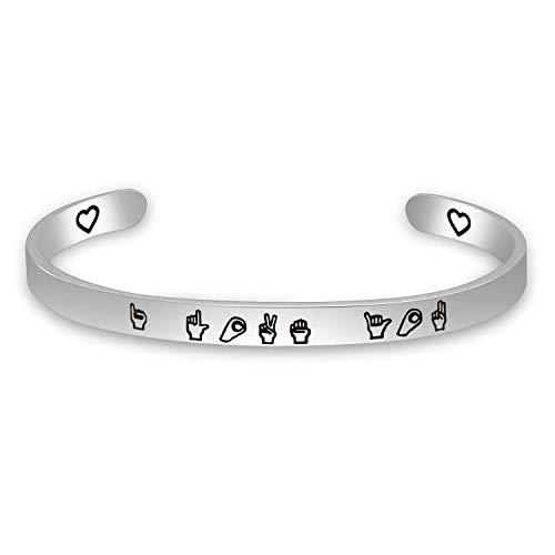 MAOFAED I Love You Gesture Cuff (I Love You Gesture - You Sign Language Love I Jewelry