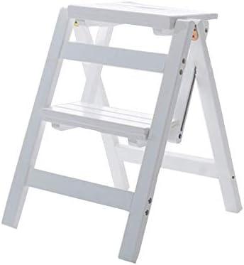 QQXX Taburete de Escalera de Madera Taburete Plegable multifunción de 2 peldaños Escalera de estantería Biblioteca de Cocina para el hogar, Capacidad de 150 kg (3 Colores) (Color: Blanco): Amazon.es: Hogar