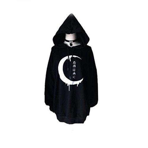 Japanese Gothic Fashion (Oversize Gothic Women Hoodies Long Sleeve Japanese Moon Print Pullover Loose Hoody Black Autumn)