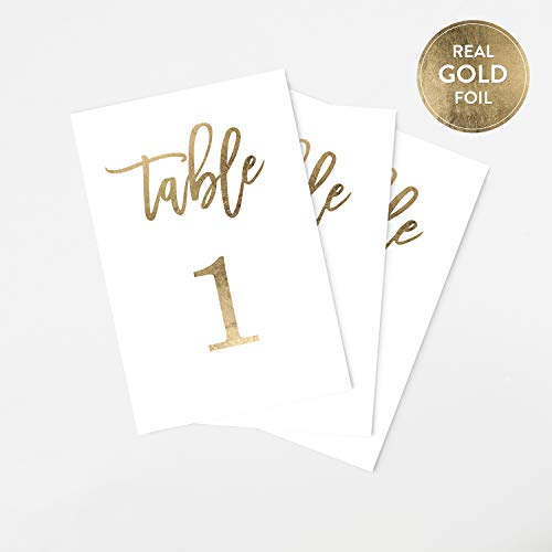 Tumbalina Gold Wedding Table Numbers (Color Options Available), 4x6 Modern Calligraphy Foil Design, Double Sided, Numbers 1-25 (Gold Foil)