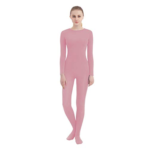 SUPRNOWA Unisex Crew Neck Footed Lycra Spandex Long Sleeve Unitard (Large, Pink) ()