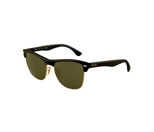 Ray-Ban Clubmaster Oversized RB4175 Sunglasses Demi Shiny Black / Arista / Crystal Green 57mm & Cleaning Kit - Rb4175 Oversized Clubmaster