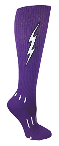 MOXY Socks Purple with Black Knee-High Lightning Electric Insane Bolt Deadlift Socks