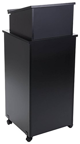 Stand Speaker Lectern (Displays2go Black Speaker Lectern, Elevated Reading Surface, Enclosed Storage Area, Melamine MDF – Black (LCTTBLRBKD))