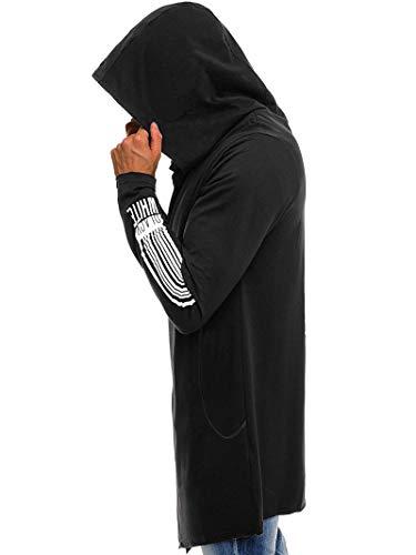 Slim longue Gilet À Capuche Chaud 1 Noir Wslcn Mi Veste Cardigan Homme Fit Hoodie Ouvert Manches Coton Cape Longue ZP5nqRHvxw