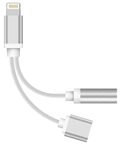 WEIPAI DJHRN  2 in 1 iPhone 7 Adapter Lightning to Charger and Lightning to 3.5mm Aux Earphones Jack Cable for iPhone 7 / 7 Plus [No Calling Function & Music Control] (Iphone Earphone Adapter)