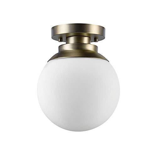 Globe Electric 65792 Portland 1 Ceiling Light, Brass Finish,