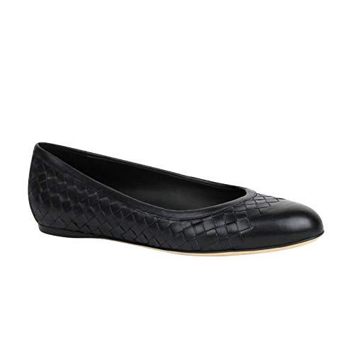 Bottega Veneta Women's Intrecciato Black Leather Flat Slippers 370132 4030 (EU 40 / US 10)
