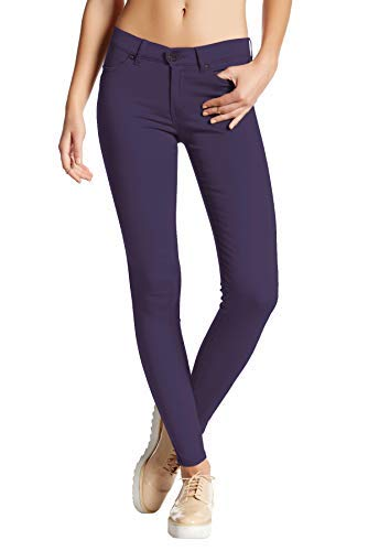 Pocket Leather Zip Four Jacket - HyBrid & Company Womens Super Stretch Comfy Skinny Pants P44876SK Navy Small