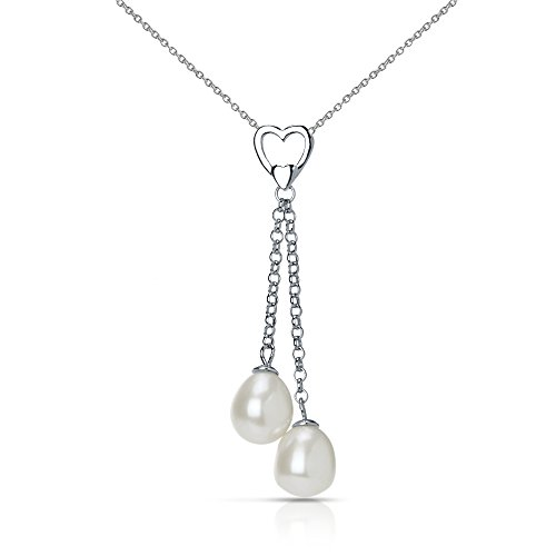 Sterling Silver Heart Design with Double-drop 8.5-9mm White Freshwater Cultured Pearl Pendant, - Double Pearl Drop Necklace