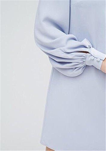 Lanterna Cromoncent Mini Solido Azzurro A Del Di Colore Abito Womens Tunica Grattacielo lino Manicotto qTw6aqE