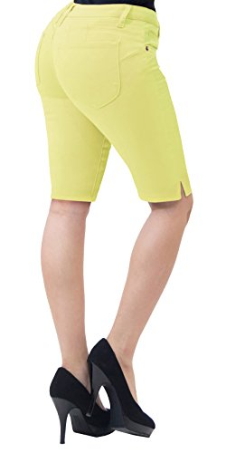 HyBrid & Company Super Comfy Stretch Bermuda Shorts B43304 Yellow 15 (Stretch Shorts Yellow)