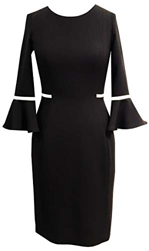Sandra Darren Women's 1 Pc 3/4 Bell Sleeve Printed Scuba Crepe Sheath Dress, Black/Ivory,12