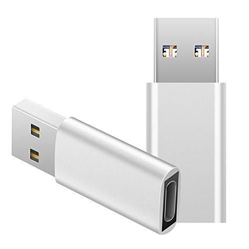 USB C to USB Adapter (2-Pack),JXMOX USB Type C Female to USB 3.0 Male Adapter,Female USB-C to USB-A Male Adapter,Works with USB-C Charge Cable,Laptops and Wall Chargers with USB A Interface(Silver)