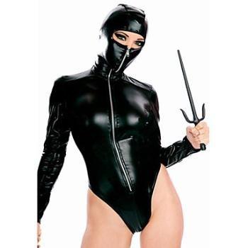 Amazon.com: Sexy Black Faux Leather Ninja Costume(1 Pieces ...