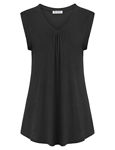 Becanbe Women Tops and Blouses On Sale,Ladies Elegant Pleated V Neck Flowy Flare A Line Ruffled Loose Casual Blouses Flowy Tank Top(Black,X-Large) by Becanbe