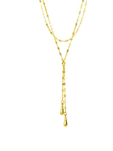 14k Yellow Gold 2-Row Fancy Lariet Style Necklace with Double Tear Drop Strand