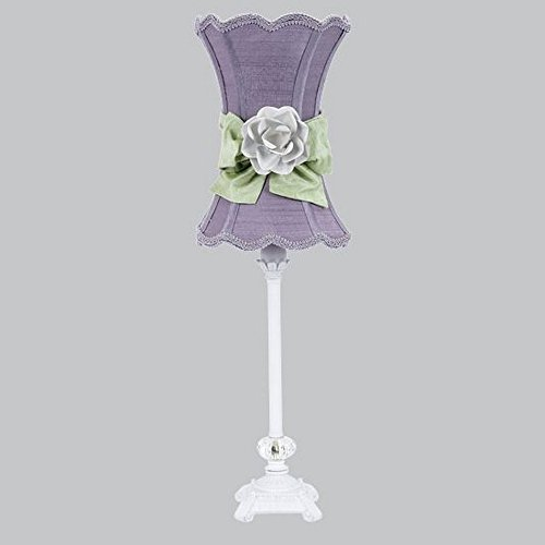Jubilee Collection 8631-3609-617-MG2000 Bright Idea - One Light Table Lamp, White Finish with Scallop Hourglass/Lavender/Modern Green Bow/White Rose Magnet Shade by Jubilee Collection