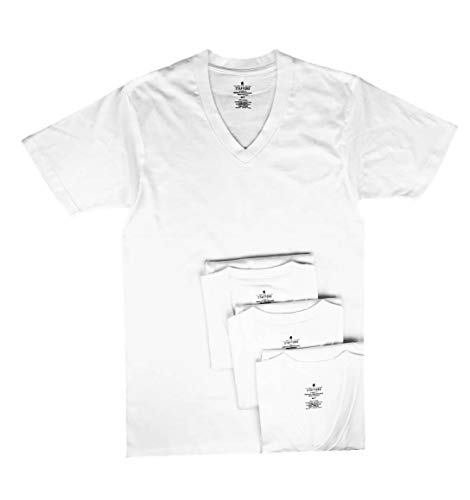 - Stafford Men's Tall/Extra Tall 100% Heavy Weight Cotton V-Neck Undershirt, White, Short Sleeve, 4 Pack (XLXT (Extra Large Extra Tall))