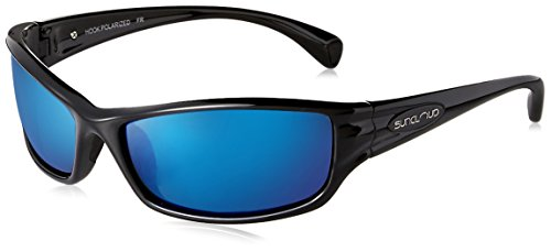 Suncloud Polarized Optics Hook Sunglasses (Black with Blue Mirror - Sunglasses Rei