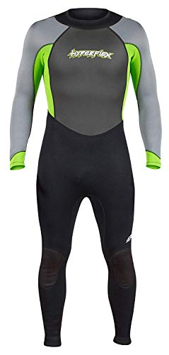 Hyperflex Women's and Men's 3mm Full Body Wetsuit - SURFING, Water Sports, Scuba Diving, Snorkeling - Comfort, Flexible and Anatomical Fit - and Adjustable Collar, Green, ()