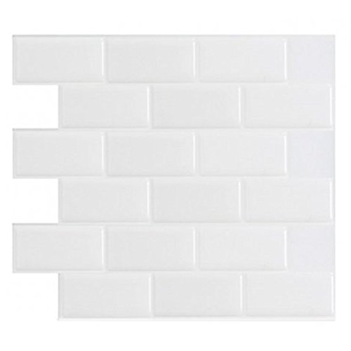 "12"" x 12"" Peel and Stick Tile for Kitchen Backsplash, White Subway Backsplash Tile (10 Sheets)"