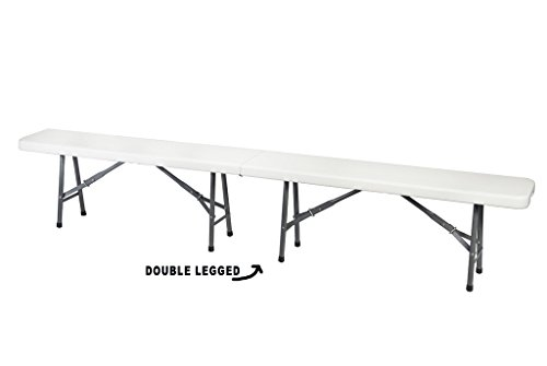 Ontario Furniture- White Plastic Portable Folding Bench for Indoor/Outdoor Garden, Picnic, party, 8' (White Bench Indoor)