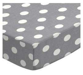SheetWorld Fitted Pack N Play (Graco Square Playard) Sheet - Polka Dots Grey - Made In USA, 36 x 36