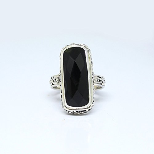 Bali Handmade sterling silver ring with beautiful and genuine 9*20 mm onyx stone, perfect baguette-shape, charming silver ring with natural onyx stone, onyx - Charming Onyx
