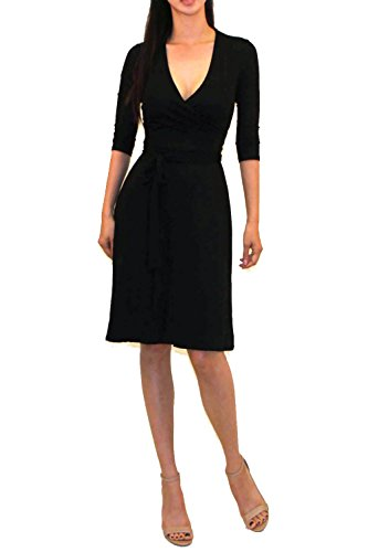 Vivicastle Women's Printed V-Neck 3/4 Sleeve Faux Wrap Waist Tie Midi Dress (Small, DD50, blk)