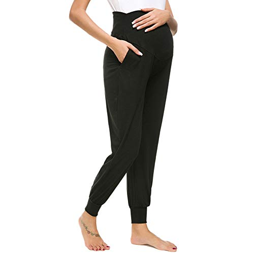 Wiselect Women's Maternity Casual Pants Stretchy Lounge Trousers Black, Large