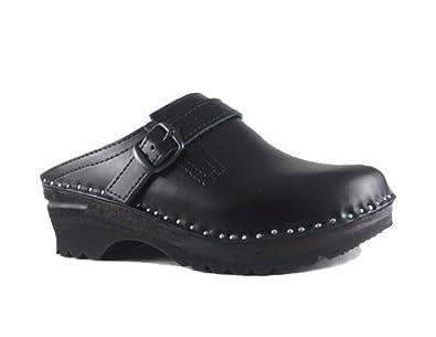 15685ebad3cfcd Troentorp Unisex Båstad Donatello Black Leather Clogs 42 EU
