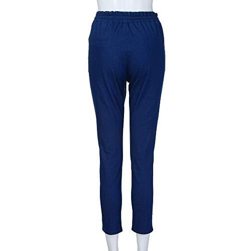 Pantaloni Slim Jeggings Jeans Casual Alta Blue Pantalone Dark Elastico Ragazza Denim Topgrowth Fit Allacciare Donna Vita Basic qnXxAwp8vp