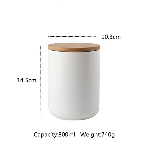 OnePine Set of 3 Air Tight Jars Ceramic Storage Containers with Airtight Seal Bamboo Lids Kitchen Canisters for Tea Sugar Coffee Spice Seasoning and More by OnePine (Image #2)