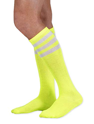 NeonNation Colored Knee High Tube Socks w/White Stripes (Neon ()