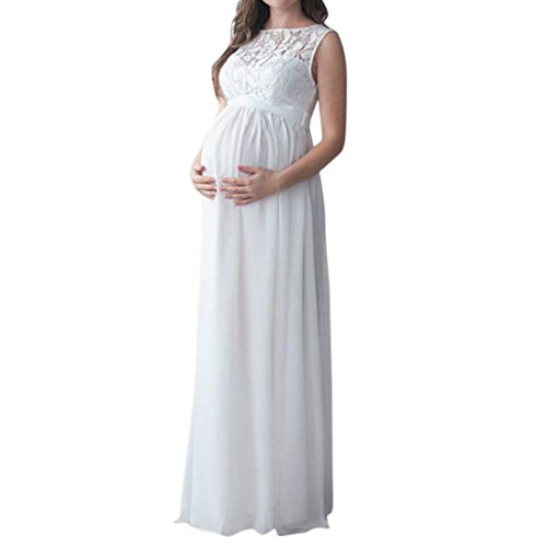 Vovotrade Pregnant Womens Lace Long Dress Maternity Gown Photography Props Clothes Patchwork Straight Dres (S, White) (40s Rayon Dresses)