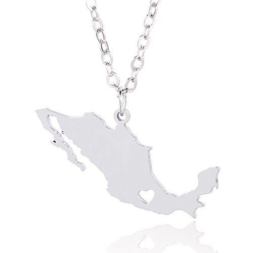 Silver Tone Stainless Steel Map Pendant Necklace, We Love Mexico, Mexico