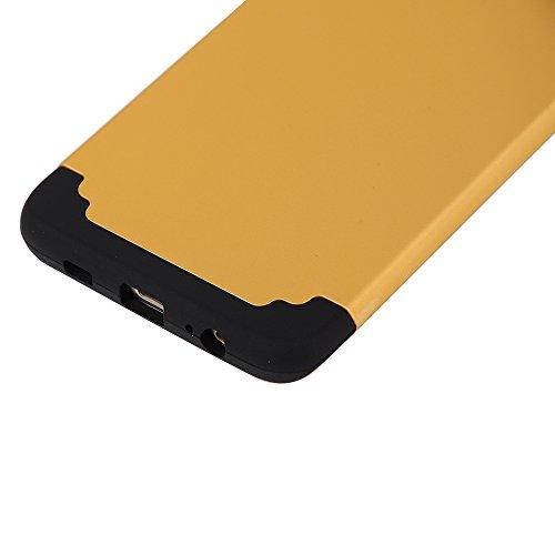 Galaxy S6 Edge Plus Case,SAVYOU 2 In 1Dual Layer Hybrid Gel Shock Absorbing Case Armor Defender Case for Samsung Galaxy S6 Edge Plus(Gold Black)