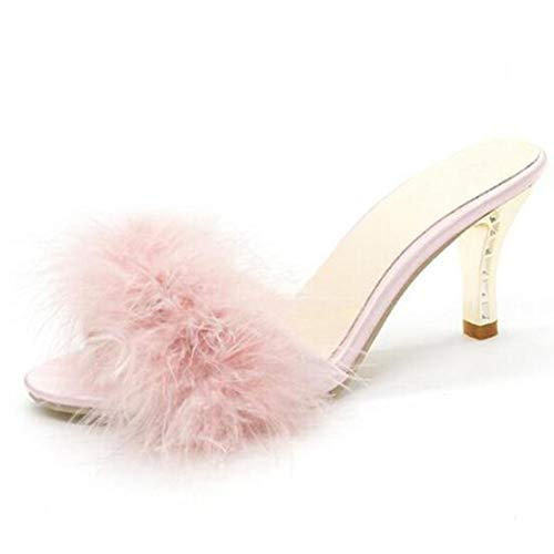 COVOYYAR Women's Feather Thin High Heels Peep Toe Fur Slippers Mules Lady Pumps Slides (7, Pink)
