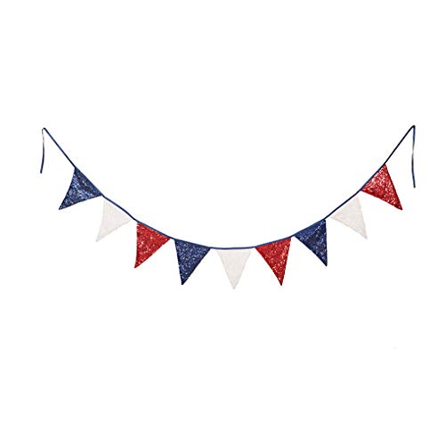 PartyDelight White Navy Blue and Red Sequin Bunting, Multicolor Fabric Triangle Flag Bunting for Party,Wedding Sequin Bunting/Garland, Outdoor Bunting Flag(9 Flags in one Bunting, 2 Packs) (Red White And Blue Flag With One Star)
