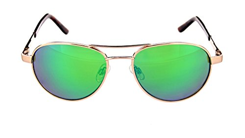 Optic Nerve Vendetta Polarized Wire Sunglasses - Shiny Gold Frame with Polarized Brown with Green Mirror Lens