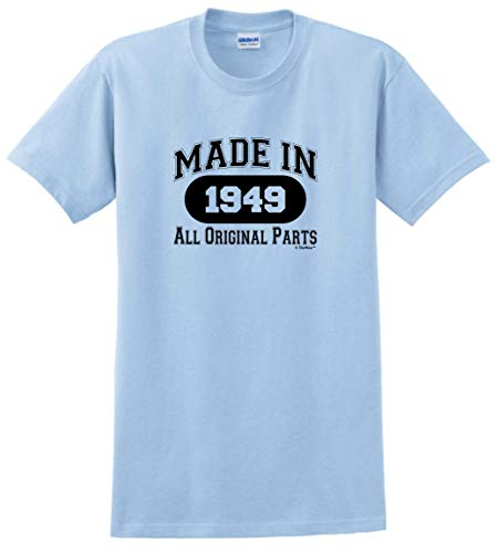 70th Birthday Party Supplies 70th Birthday Gift Made 1949 All Original Parts T-Shirt Small Light Blue