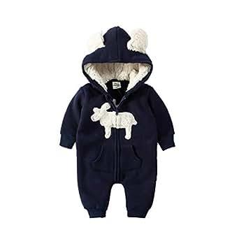 ALLAIBB Toddler Unisex Babies Autumn&Winter Romper Cute Elk Print Hooded Zipper Jumpsuit Blue