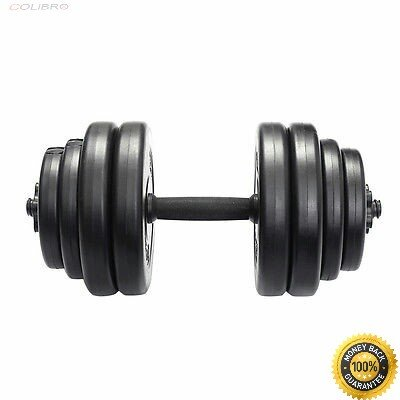 COLIBROX-- Weight Dumbbell Set 64 LB Adjustable Cap Gym Barbell Plates Body Workout Barbell Rubber-coated Hex Dumbbells 10 LB Pair 20 Lbs