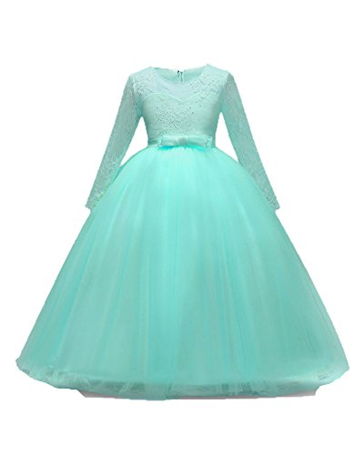 First Communion Big Size 7-16 Formal Weddings Dresses for Kids Bridesmaid Flower Girls Dress Up Ball Gown Sundress Casual Bride Long Puffy Elegant Junior Poofy Size 9 10 Teen (Mint Green, 150)