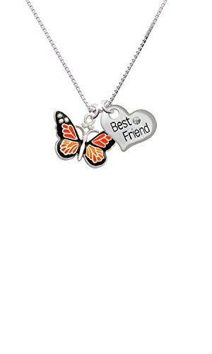 Large Monarch Butterfly with 6 AB Crystals - Best Friend Heart Necklace