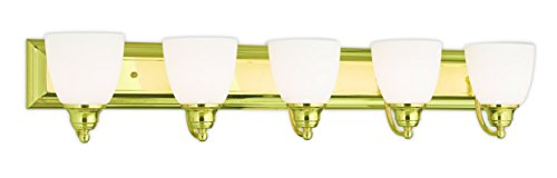 (Livex Lighting 10505-02 Polished Brass Bath Vanity with Satin Opal Glass)