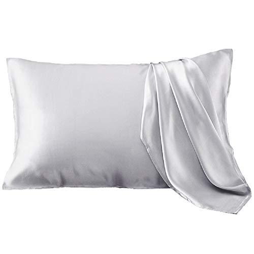 YANIBEST Silk Pillowcase for Hair and Skin - 600 Thread Count 100% Mulberry Silk Bed Pillowcase with Hidden Zipper, Standard Size Pillow Cases Grey